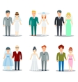Newlyweds Couple Characters Collection vector image vector image