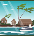 picture a village on shore a lagoon vector image vector image
