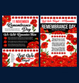 remembrance day banner with red poppy flower vector image vector image
