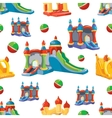 seamless pattern of inflatable castles vector image vector image