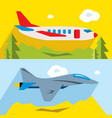 set civil and military aviation flat vector image