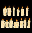 set of doodle shining in darkness candles vector image vector image
