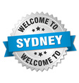 Sydney 3d silver badge with blue ribbon vector image vector image