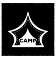 The emblem or logo of a black tent for camping on vector image vector image