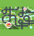 top view city map with cars on road river and vector image vector image
