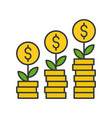 tree growing on gold coins investment and vector image