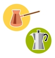 Turk for coffee and geyser in a flat style vector image vector image