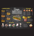 vintage chalk drawing burger menu design fast food vector image vector image