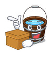with box wooden bucket character cartoon vector image vector image