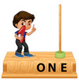 young boy holding number one vector image