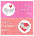happy valentines day banners doves fly peacefully vector image