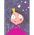 Fun and Cute Little Princess in Dark Forest with vector image