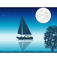 Sailing boat seaborne in the night vector image