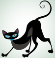 black cat with blue ribbon front vector image