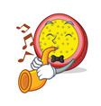 with trumpet passion fruit mascot cartoon vector image