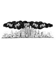 artistic drawing of city covered by smog and pm vector image vector image