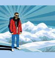 bearded hipster man on the top of rock pop art vector image vector image