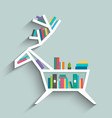 bookshelf in form of deer with colorful books vector image vector image