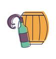 bottle splashing wine with barrel vector image vector image
