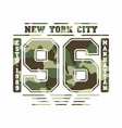 camouflage typography for t-shirt print new york vector image vector image