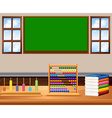 Classroom with board and books vector image vector image