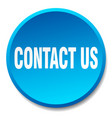 contact us blue round flat isolated push button vector image vector image