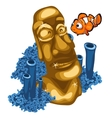 Coral reef clown fish and Golden statue of Maya vector image vector image