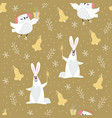 cute pattern with owl and rabbit vector image