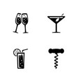 drink alcohol simple related icons vector image