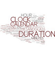 duration word cloud concept vector image vector image