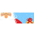 face santa claus and snow portrait of grandfather vector image vector image