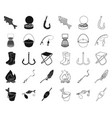fishing and rest blackoutline icons in set vector image vector image