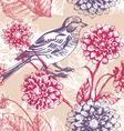 Floral seamless pattern with bird vector | Price: 1 Credit (USD $1)