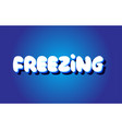 Freezing text 3d blue white concept design logo