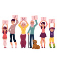 grandparents and grandchildren holding word family vector image vector image