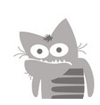 gray cat looks at you and doesnt understand vector image