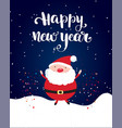 happy new year brush lettering text and santa vector image