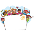 Kids behind the banner vector image vector image