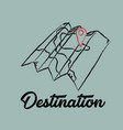 line drawing travel destination map vector image vector image