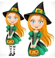 Little girl dressed as a witch with pumpkin