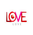 love symbol with kissing birds valentine card vector image