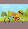 man and woman riding on double bike people vector image vector image