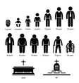 man human aging growing process pictograms a set vector image vector image