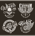 monochrome custom motorcycle logotypes vector image vector image