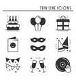 Party celebration thin line icons set birthday