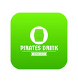 pirate barrel icon green vector image