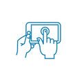 playing on the touchscreen linear icon concept vector image vector image
