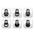 Russian doll retro matrioshka buttons set vector image