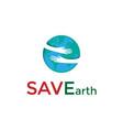 save care world globe earth with hand hug embrace vector image