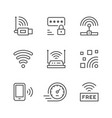 set line icons of wi-fi vector image